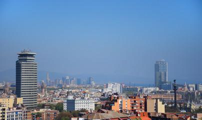 Paisaje urbano en Barcelona. Vista panorámica de la ciudad