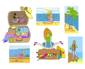 Girl packs her suitcase, bag with vacation accessories, cards with summer holidays activities. Sea and beach landscapes. Set of icons.Vector cartoon illustration isolated.