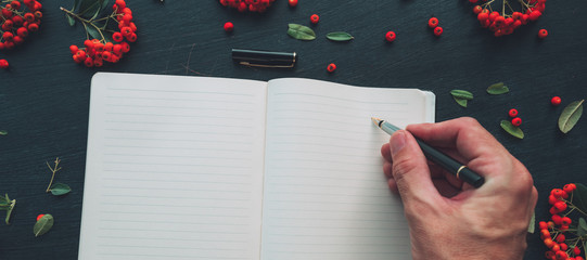 Flat lay hand writing diary, top view mock up