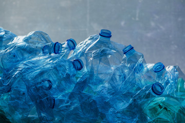 Crushed plastic bottles heap