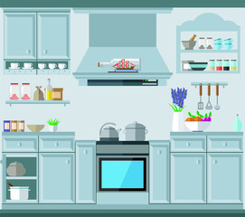 A cozy kitchen in the style of Provence with a lot of cabinets, dishes and kitchen utensils. Vector illustration, kitchen set.