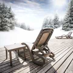 Wooden terrace with chair and free space for your decoration.