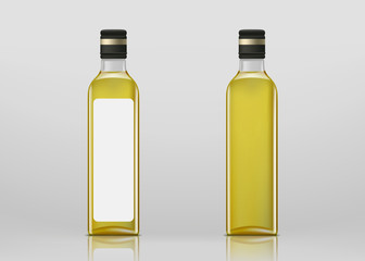 Glass transparent blank bottle with olives oil. Package mock-up