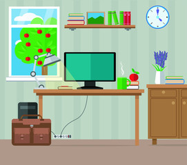 Living room, workplace with computer, furniture and window. Vector illustration, set.