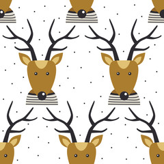 Seamless pattern, deers, hand drawn overlapping backdrop. Colorful background vector. Design illustration. Decorative cute wallpaper, good for printing. Happy New Year. Winter time