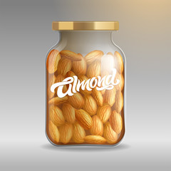 Realistic glass jar with almonds close-up on an isolated background with a typewriter Almond. Realistic vector illustration for packaging design, branding, label. EPS10