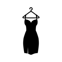 Black Dress On A Hanger Icon.Vector Illustration
