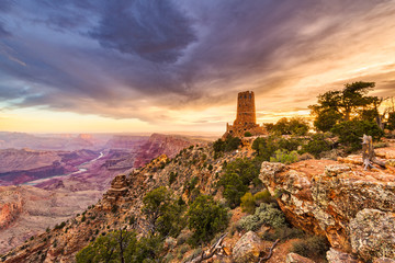 Fototapete - Desert View Watchtower on the Grand Canyon