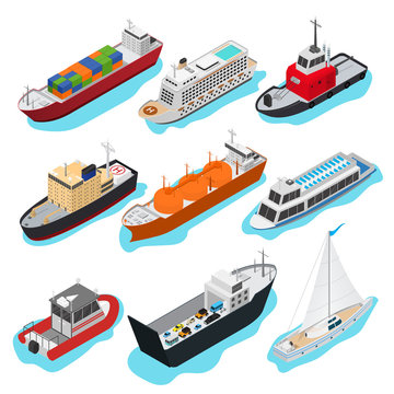 Commercial Sea Ships Signs 3d Icon Set Isometric View. Vector