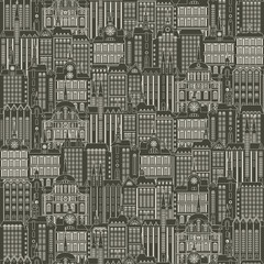 Vector seamless pattern with a lot of buildings of the Old town in retro style. Seamless black and white drawing background, can be used as wallpaper or wrapping paper.
