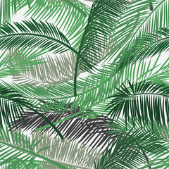 Vector background with two layers of tropical foliage. Palm leaves pattern. Seamless vector pattern for print design, wallpaper, site backgrounds, postcard, textile, fabric. Vector illustration.