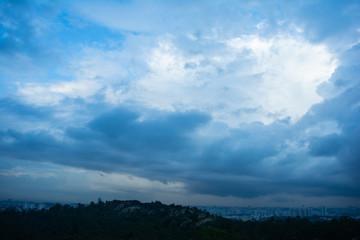 Dramatic dangerous dark blue cloudscape