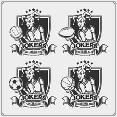 Volleyball, baseball, soccer and football logos and labels. Sport club emblems with Joker.