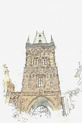 illustration Powder tower or Powder gate in Prague in the Czech Republic. An architectural monument of the 15th century. It is located on the Republic Square. At the gate begins Celetna Street.
