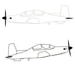 airplane icon, black and white vector, coloring.