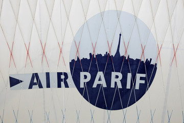 The AIRPARIF logo is seen on the Airparif Generali Balloon at the Park Andre-Citroen in Paris