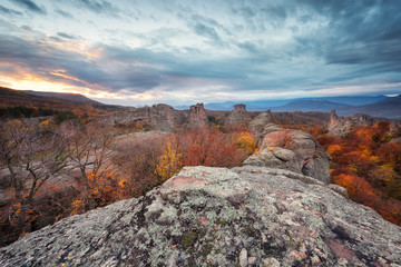 Magnificent morning view of the Belogradchik rocks in Bulgaria, lit by the autumn sun