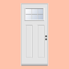 Wooden doors with plug-in glass realistic vector.