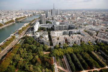 An aerial view of Paris is seen from the Airparif Generali Balloon that flies over the Park Andre-Citroen in Paris
