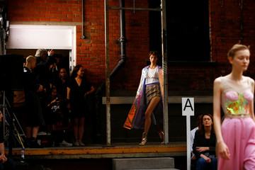 A model presents a creation during the Natasha Zinko catwalk show during London Fashion Week in London