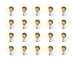 Vector young adult man avatars and emoticons set in flat style, front view.
