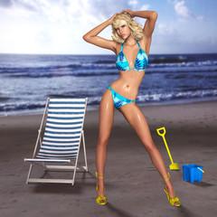 3D beach bikini models