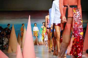 Models present creations during the Roberta Einer show during London Fashion Week in London