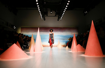 Model presents a creation during the Roberta Einer show during London Fashion Week in London