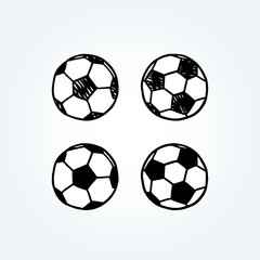 Hand drawn vector illustration of soccer ball.doodle