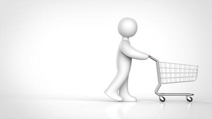 ショピングカートを押す人 側面 右