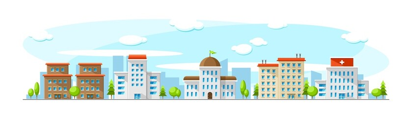 Cityscape with old and modern buildings like hospital, parliament, office and school. Vector flat town illustration