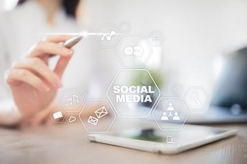 Social media concept on virtual screen. SMM. Marketing. Communication and internet technology.