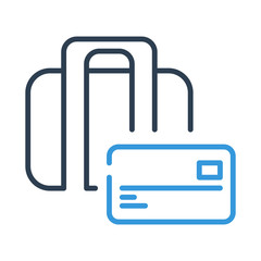 Line art. Bag and business design. Credit Card Icon vector