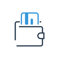 Line art. Card wallet icon illustration vector symbol