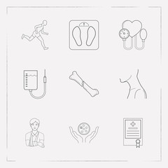 Set of medicine icons line style symbols with sport, crack in bone, patient with bandage icons for your web mobile app logo design.