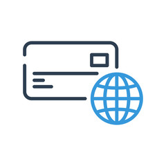 Line art. credit card icon and globe earth vector