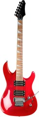 Close-up of red guitar isolated on white background