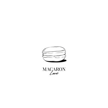 Hand drawn Sketch Cake macaron, macaroon isolated on white background. Love macaron, macaroon biscuits, sweet and beautiful dessert. Fashion French pastry macarons