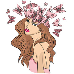 woman, beauty, hair, face, fashion, beautiful, illustration, young, portrait, vector, flower, art, model, glamour, style, cute, silhouette, abstract, spring, design, flowers, floral, blond, lady, lips