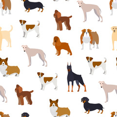 Cartoon Breed of Dogs Seamless Pattern Background. Vector
