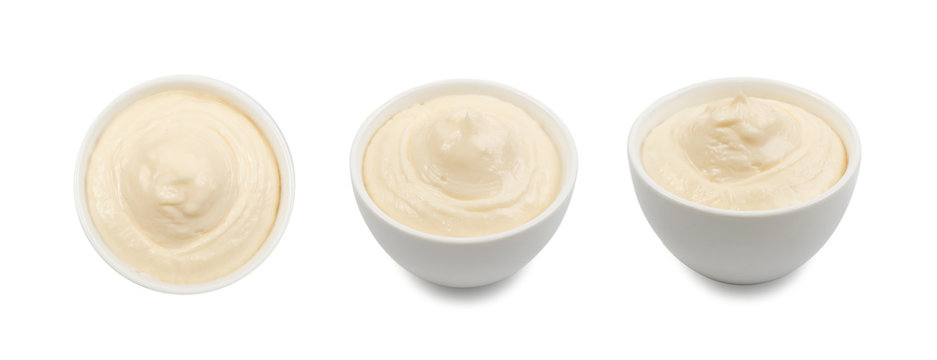Olive Mayonnaise or Mayo Sauce in Small White Bowl Close Up