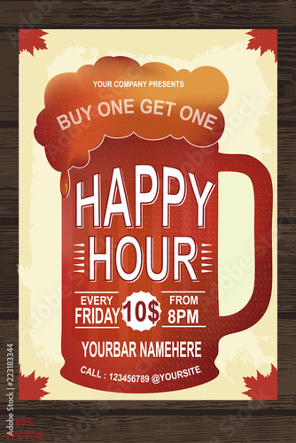 Happy Hour Invitation Poster Template Stock Image And Royalty Free