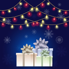Gift boxes and light decoration, Merry Christmas  background