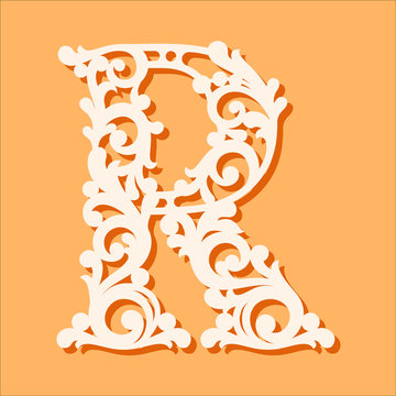 Laser cut template. Initial monogram letters. Fancy floral alphabet letter. May be used for paper cutting. Floral wooden alphabet font letter. Filigree cutout pattern. Vector illustration.