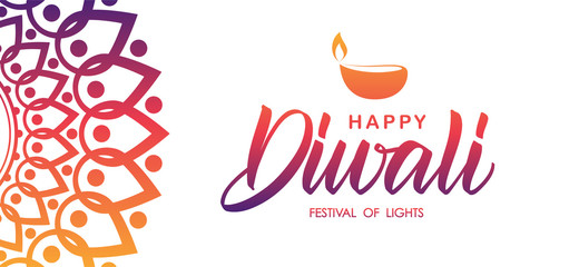 Colorful Indian greeting banner with Handwritten lettering of Happy Diwali and lamp. Vector illustration.