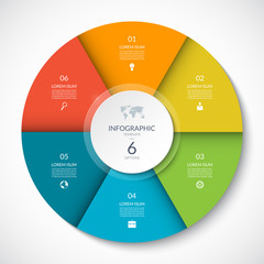 Vector infographic circle. Cycle diagram with 6 options. Can be used for chart, graph, report, presentation, web design.