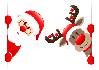 Santa & Rudolph Stars Banner