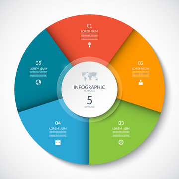 Vector infographic circle. Cycle diagram with 5 options. Can be used for chart, graph, report, presentation, web design.