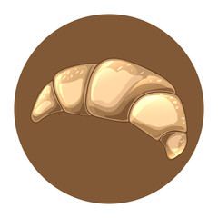 Croissant icon in brown circle. Cute design element for bakery shop and patisserie. Traditional French breakfast, delicious dessert. Vector food illustration. Hand drawn sketch of bun.