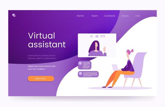 Virtual assistant, the concept of landing page, vector